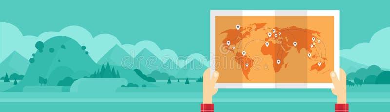 Υπόβαθρο τοπίων βουνών έννοιας τουρισμού ταξιδιού παγκόσμιων ατόμων λαβής χεριών διανυσματική απεικόνιση