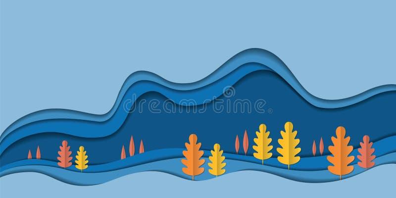 Υπόβαθρο τοπίων φύσης φθινοπώρου, φύλλα εγγράφου δέντρων, έμβλημα πώλησης εποχής πτώσης, αφίσα ημέρας των ευχαριστιών, έγγραφο πο διανυσματική απεικόνιση