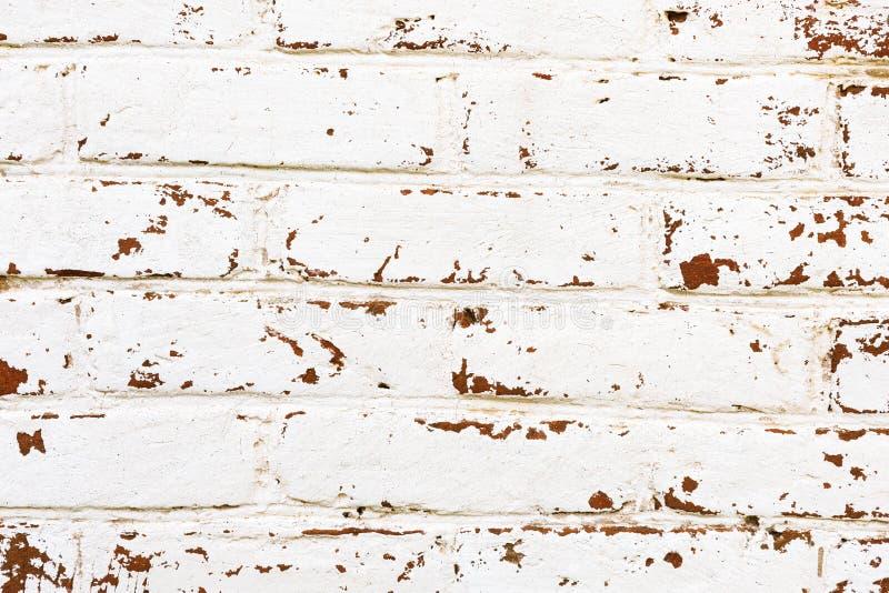 Υπόβαθρο - τουβλότοιχος με το άσπρο χρώμα ή το ασβεστοκονίαμα αποφλοίωσης στοκ εικόνες