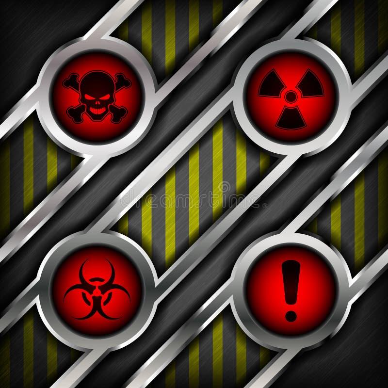 Υπόβαθρο του μετάλλου με τα σημάδια του κινδύνου απεικόνιση αποθεμάτων