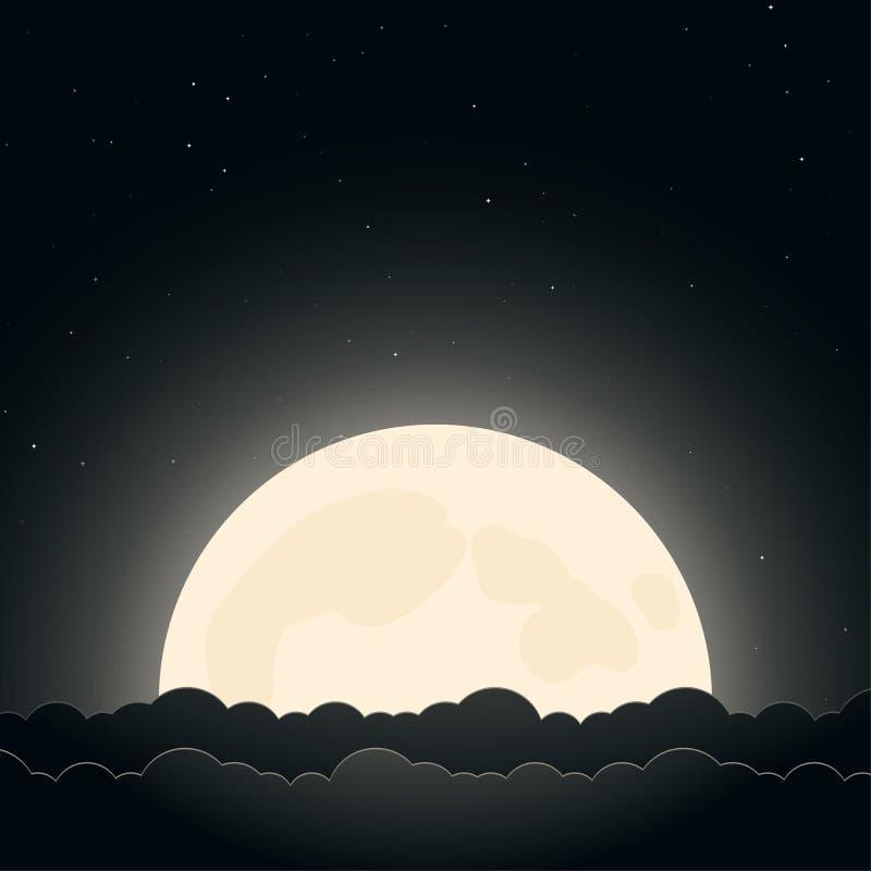 Υπόβαθρο του νυχτερινού ουρανού με το φεγγάρι, τα αστέρια και τα σύννεφα διανυσματική απεικόνιση