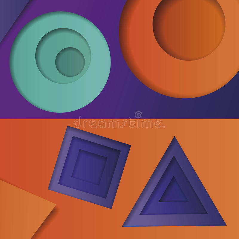Υπόβαθρο του πολύχρωμου αφηρημένου διανύσματος στο ύφος του υλικού σχεδίου με τις γεωμετρικές μορφές των διαφορετικών μεγεθών Πολ ελεύθερη απεικόνιση δικαιώματος