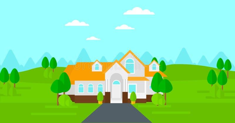 Υπόβαθρο του σπιτιού με το όμορφα τοπίο και driveway απεικόνιση αποθεμάτων
