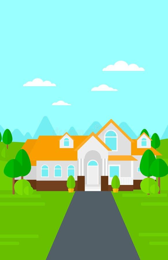 Υπόβαθρο του σπιτιού με το όμορφα τοπίο και driveway διανυσματική απεικόνιση