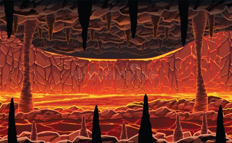 Υπόβαθρο του τοπίου - σατανική καυτή σπηλιά με τη λάβα ελεύθερη απεικόνιση δικαιώματος