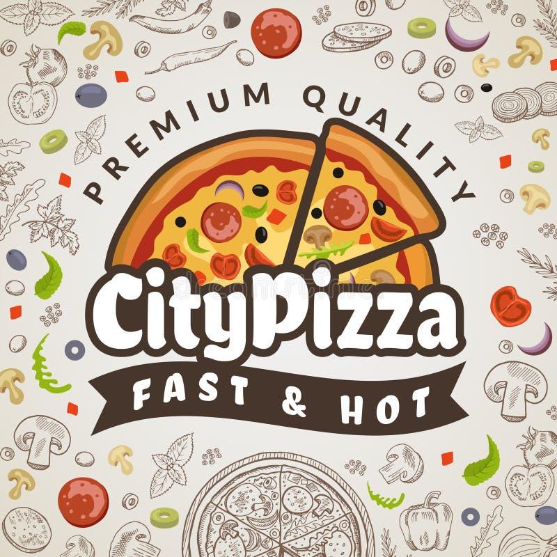 Υπόβαθρο τροφίμων πιτσών Ιταλικό χρωματισμένο επιλογές pizzeria κουζινών logotype για το διανυσματικό πρότυπο αφισών διανυσματική απεικόνιση