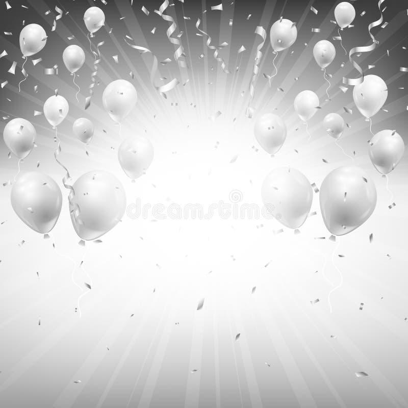Υπόβαθρο των ασημένιων μπαλονιών και του κομφετί απεικόνιση αποθεμάτων