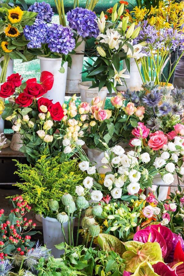 Υπόβαθρο των ζωηρόχρωμων λουλουδιών σε μια αγορά στοκ φωτογραφία με δικαίωμα ελεύθερης χρήσης