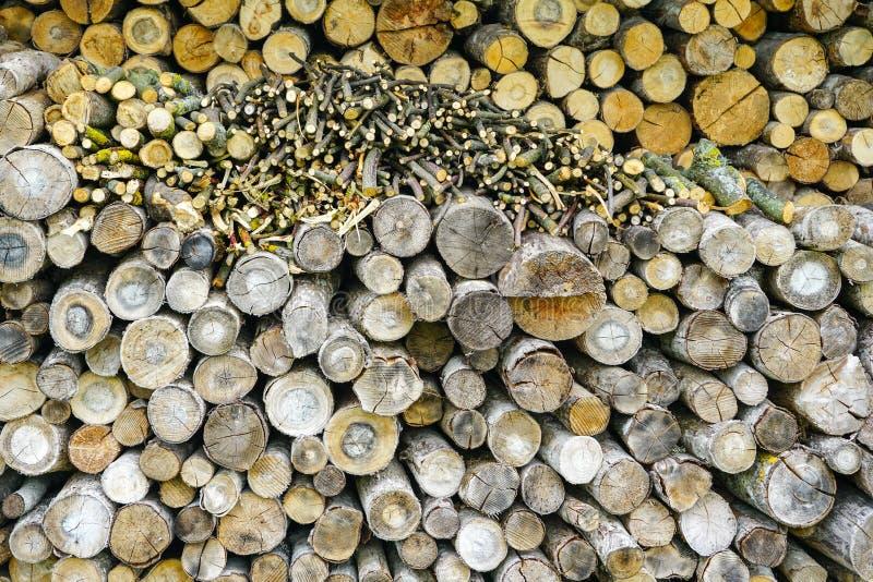 Υπόβαθρο των ξύλινων κούτσουρων, τεμαχισμένο ξύλο πυρκαγιάς που προετοιμάζεται για το χειμώνα στοκ εικόνα με δικαίωμα ελεύθερης χρήσης