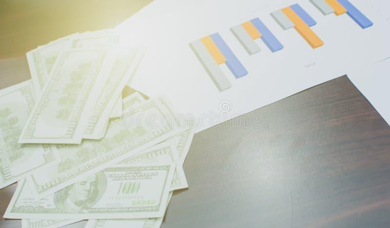 Υπόβαθρο των τραπεζογραμματίων δολαρίων και έγγραφο των κερδών στοκ φωτογραφία με δικαίωμα ελεύθερης χρήσης