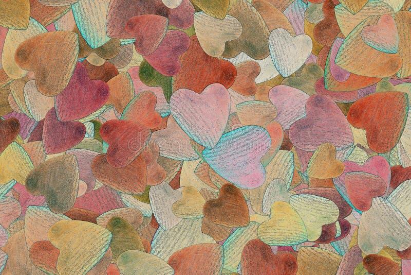 Υπόβαθρο των τυχαία διεσπαρμένων καρδιών στοκ εικόνα με δικαίωμα ελεύθερης χρήσης