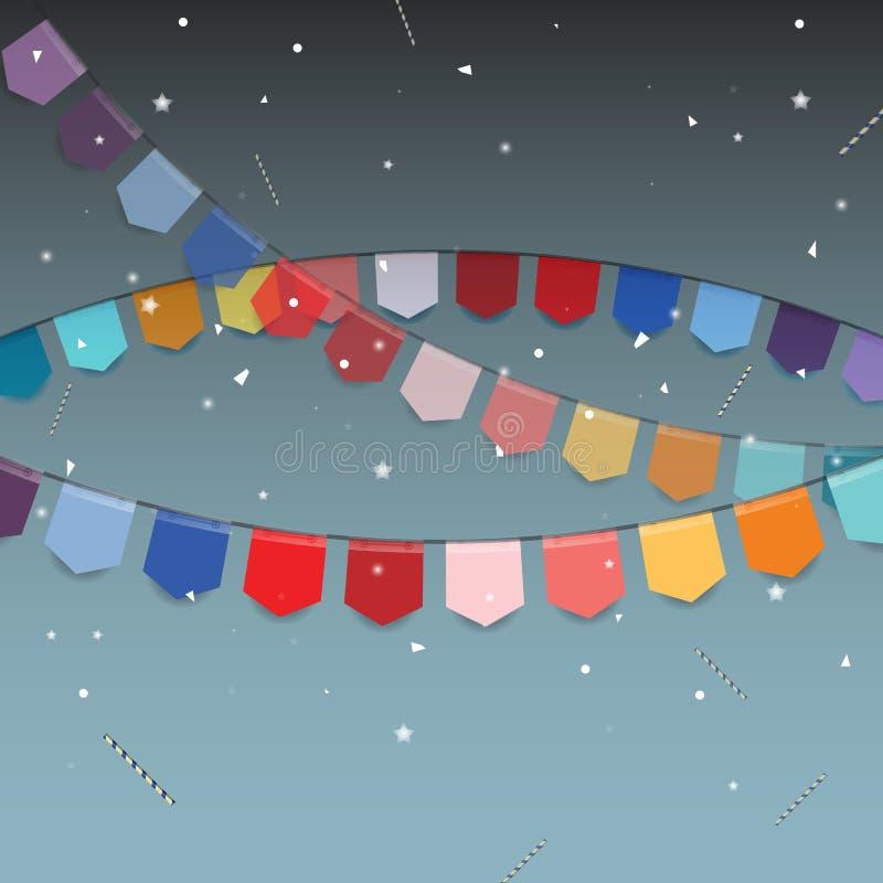 Υπόβαθρο των χρωματισμένων σημαιών με το αστέρι, το ραβδί και το κομφετί απεικόνιση αποθεμάτων