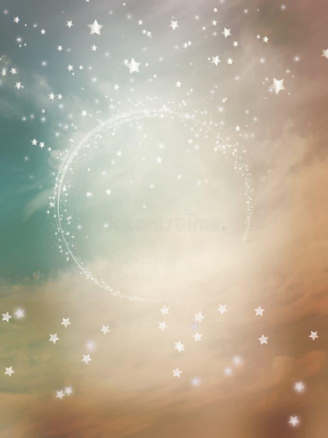 Υπόβαθρο φαντασίας με τα αστέρια και το σύννεφο απεικόνιση αποθεμάτων