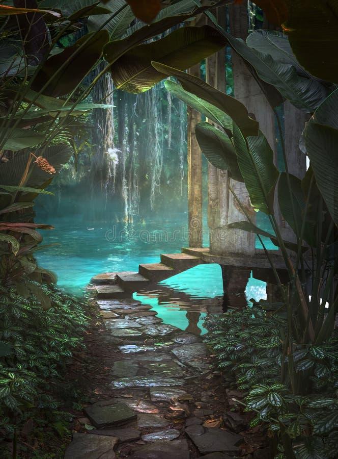 Υπόβαθρο φαντασίας πορειών ζουγκλών στοκ φωτογραφία με δικαίωμα ελεύθερης χρήσης