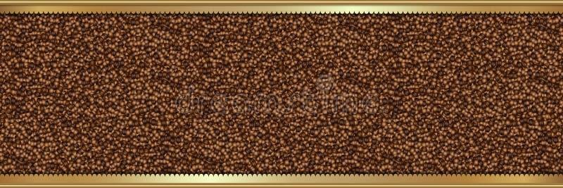 Υπόβαθρο φασολιών καφέ με το χρυσό πλαίσιο ελεύθερη απεικόνιση δικαιώματος