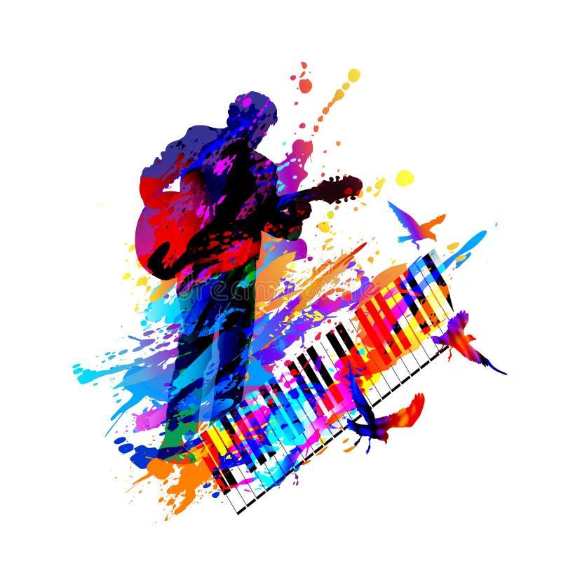 Υπόβαθρο φεστιβάλ μουσικής για το κόμμα, συναυλία, τζαζ, σχέδιο φεστιβάλ βράχου με το μουσικό, τον κιθαρίστα και τα πετώντας πουλ απεικόνιση αποθεμάτων