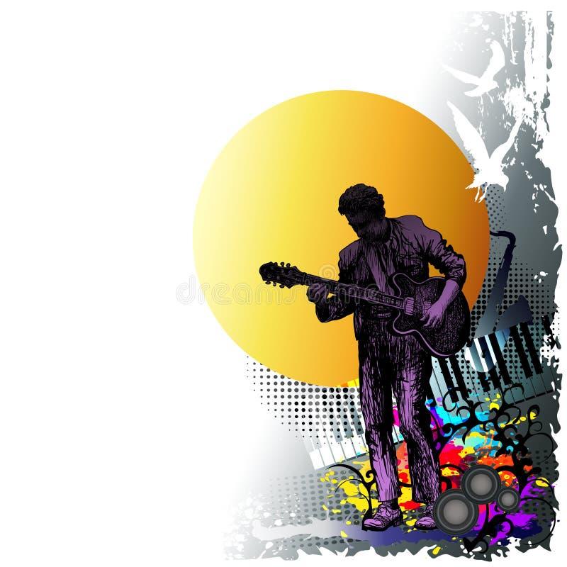 Υπόβαθρο φεστιβάλ μουσικής για το κόμμα, συναυλία, τζαζ, σχέδιο φεστιβάλ βράχου με το μουσικό, τον κιθαρίστα και τα πετώντας πουλ ελεύθερη απεικόνιση δικαιώματος