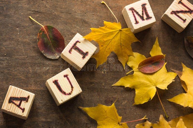 Υπόβαθρο φθινοπώρου με γειά σου τις επιστολές φθινοπώρου Υπόβαθρο φθινοπώρου στους εκλεκτής ποιότητας τόνους με την έννοια της αρ στοκ εικόνες