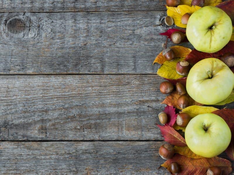 Υπόβαθρο φθινοπώρου με τα ξηρά φύλλα, καρύδια, καρυκεύματα κανέλας βελανιδιών στον ξύλινο πίνακα διάστημα αντιγράφων στοκ φωτογραφίες με δικαίωμα ελεύθερης χρήσης