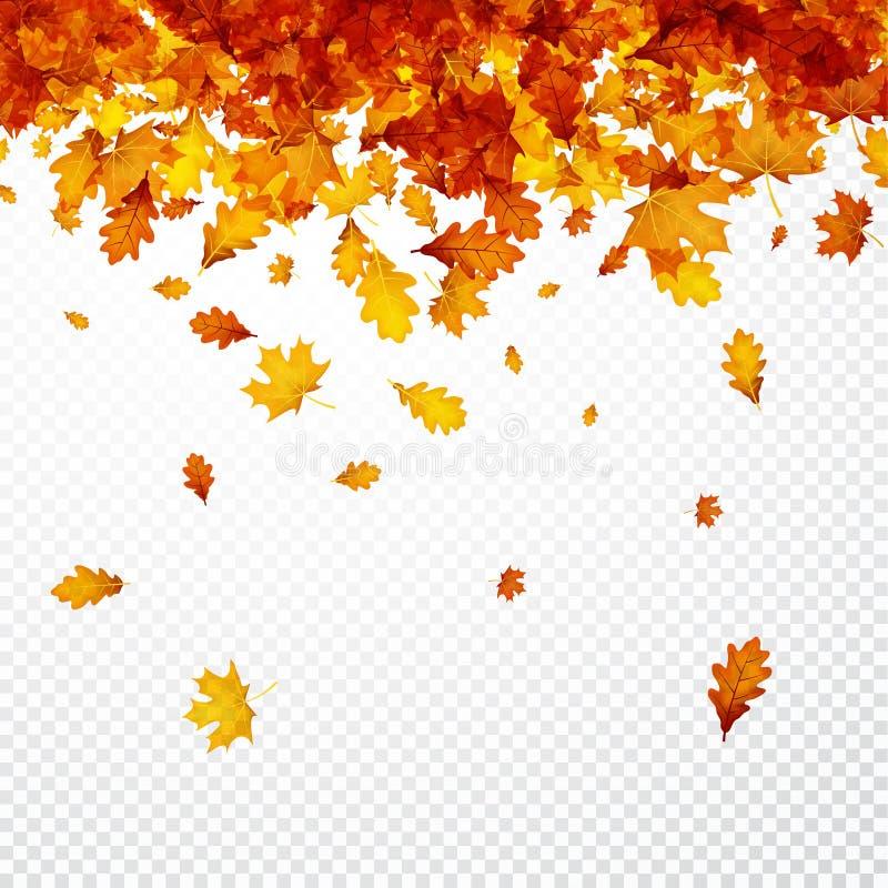 Υπόβαθρο φθινοπώρου με τα πορτοκαλιά φύλλα διανυσματική απεικόνιση