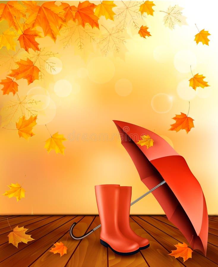 Υπόβαθρο φθινοπώρου με τις μπότες ομπρελών και βροχής διανυσματική απεικόνιση