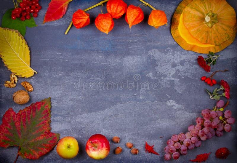 Υπόβαθρο φθινοπώρου: φρούτα, λαχανικά, φύλλα, καρύδια και λουλούδια στοκ φωτογραφία