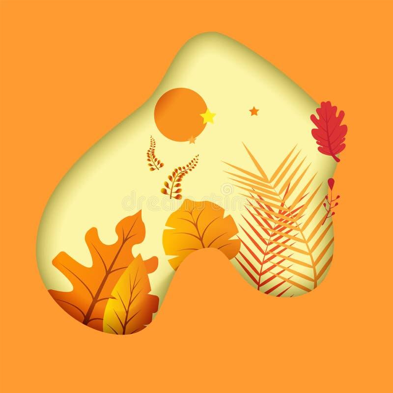 Υπόβαθρο φθινοπώρου, φύλλα εγγράφου δέντρων, κίτρινο σκηνικό, σχέδιο για το έμβλημα πώλησης εποχής πτώσης, αφίσα ή χαιρετισμός ημ διανυσματική απεικόνιση