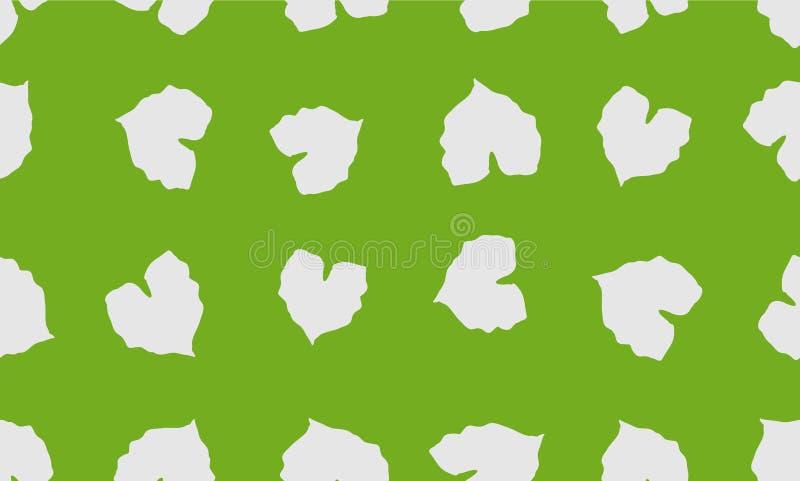 Υπόβαθρο φύλλων μορφής καρδιών, φυσικό άνευ ραφής σχέδιο φύλλων, πράσινο σχέδιο υποβάθρου χρώματος - διάνυσμα διανυσματική απεικόνιση