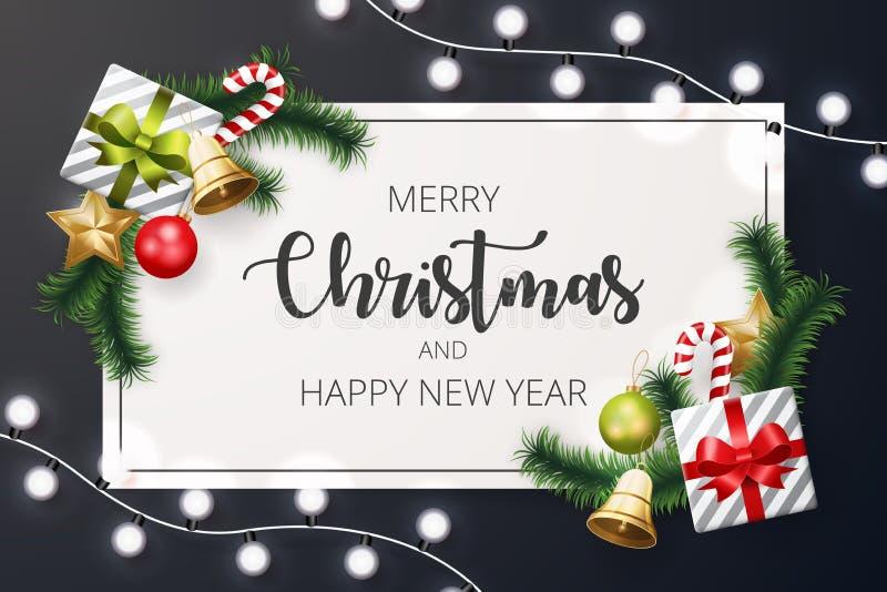 Υπόβαθρο Χαρούμενα Χριστούγεννας με το στοιχείο Χριστουγέννων απεικόνιση αποθεμάτων