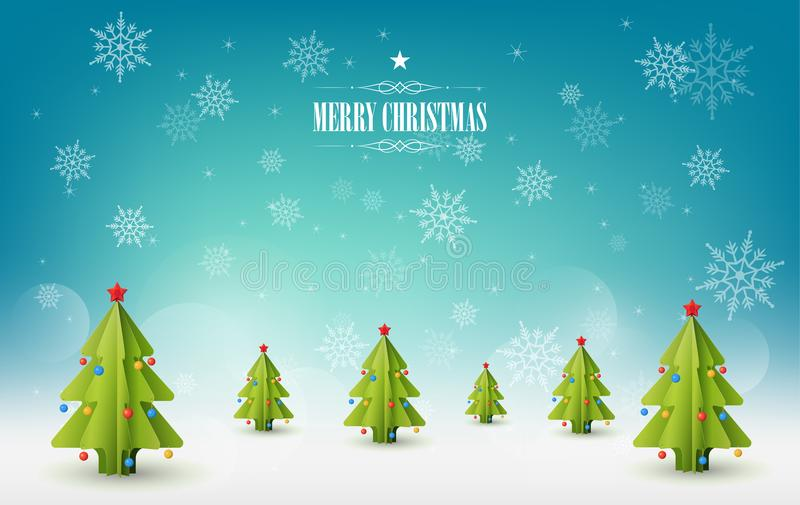 Υπόβαθρο Χαρούμενα Χριστούγεννας, πολλά δέντρα πεύκων Χριστουγέννων ελεύθερη απεικόνιση δικαιώματος