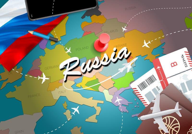 Υπόβαθρο χαρτών έννοιας ταξιδιού της Ρωσίας με τα αεροπλάνα, εισιτήρια επίσκεψη ελεύθερη απεικόνιση δικαιώματος