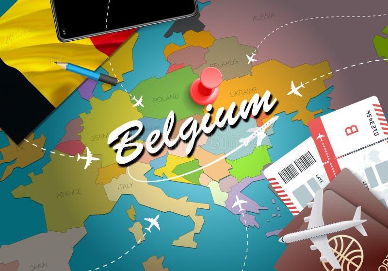 Υπόβαθρο χαρτών έννοιας ταξιδιού του Βελγίου με τα αεροπλάνα, εισιτήρια Visi ελεύθερη απεικόνιση δικαιώματος