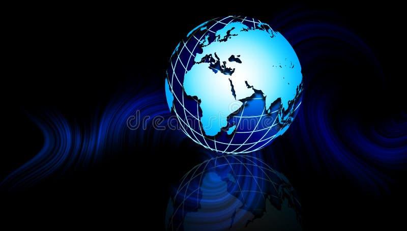 Υπόβαθρο χαρτών παγκόσμιων σφαιρών Μια παγκόσμια σφαίρα στο μπλε κυματιστό υπόβαθρο διανυσματική απεικόνιση