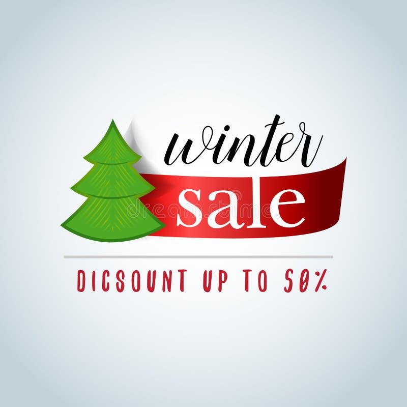 Υπόβαθρο χειμερινής πώλησης με την κόκκινη κορδέλλα και το νέο έμβλημα δέντρων έτους, έμβλημα, διακριτικό Πώληση διανυσματικός χε διανυσματική απεικόνιση