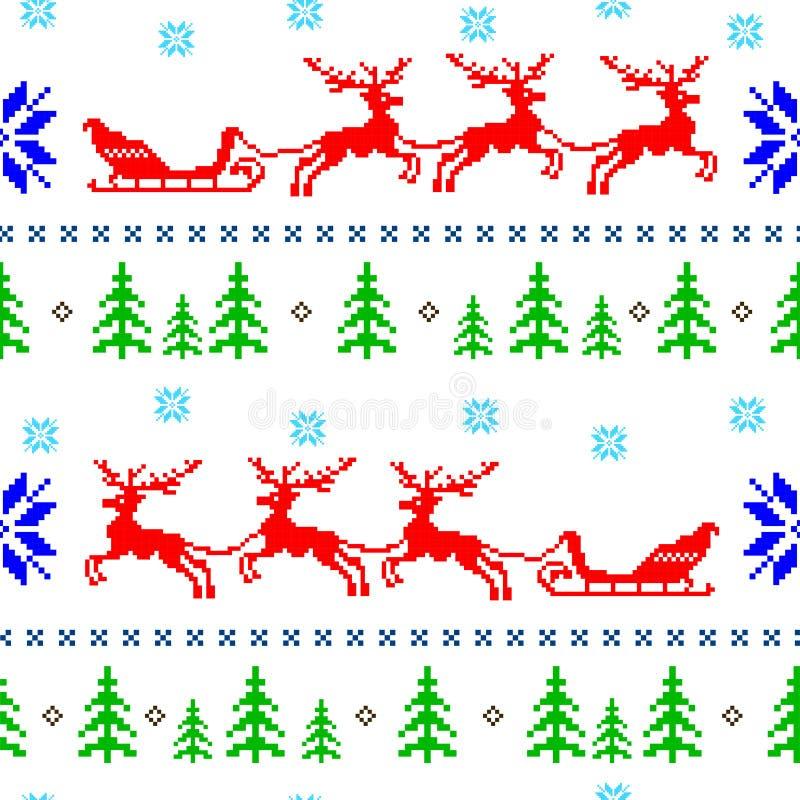 Υπόβαθρο χειμερινών άνευ ραφής Χριστουγέννων στο νορβηγικό ύφος απεικόνιση αποθεμάτων