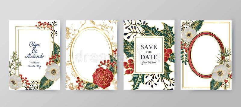 Υπόβαθρο χειμερινών διακοπών, πρόσκληση Σχέδιο γαμήλιων σχεδίων Floral ρύθμιση Χριστούγεννα και κάρτα καλής χρονιάς ελεύθερη απεικόνιση δικαιώματος