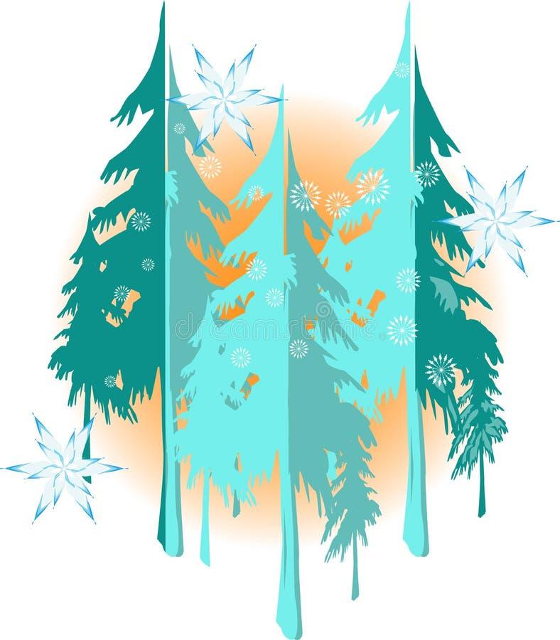 Υπόβαθρο χειμερινών τοπίων με τη συμπαθητική snowflakes και δέντρων σκιαγραφία ελεύθερη απεικόνιση δικαιώματος