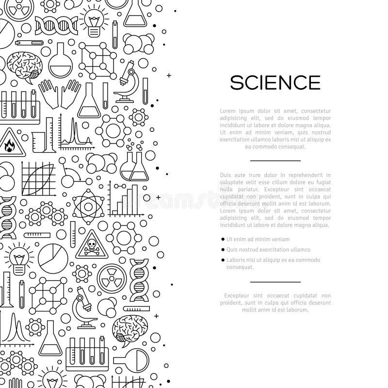 Υπόβαθρο χημείας με τα εικονίδια γραμμών απεικόνιση αποθεμάτων