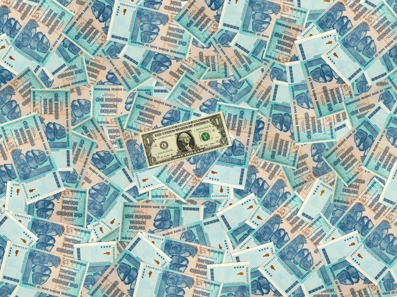 Υπόβαθρο χρημάτων με τη Ζιμπάμπουε εκατό λογαριασμοί τρισεκατομμύριο δολαρίων και ένα αμερικανικό δολάριο στοκ φωτογραφίες με δικαίωμα ελεύθερης χρήσης