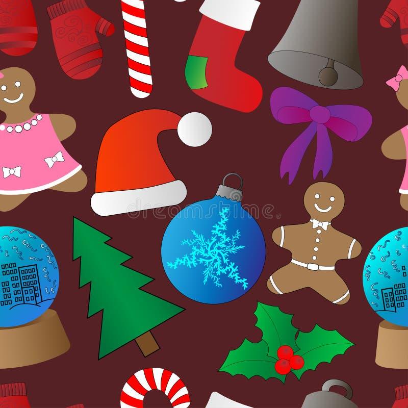 Υπόβαθρο Χριστουγέννων, άνευ ραφής επικεράμωση, σχέδιο τυλίγοντας εγγράφου απεικόνιση αποθεμάτων