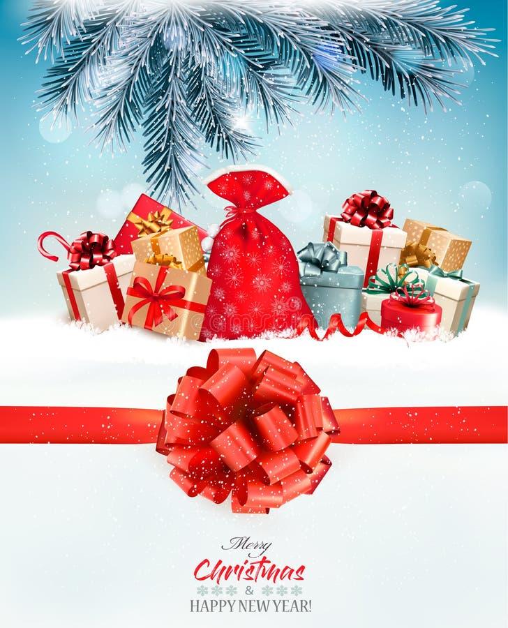 Υπόβαθρο Χριστουγέννων διακοπών με ένα σύνολο σάκων των κιβωτίων δώρων ελεύθερη απεικόνιση δικαιώματος