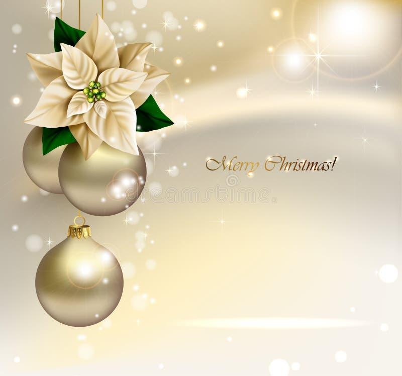 Υπόβαθρο Χριστουγέννων διακοπών με τις χρυσές σφαίρες βραδιού διανυσματική απεικόνιση
