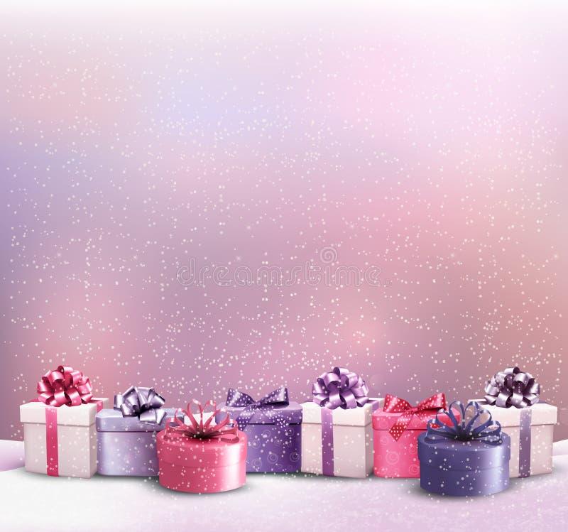 Υπόβαθρο Χριστουγέννων διακοπών με σύνορα των κιβωτίων δώρων διανυσματική απεικόνιση