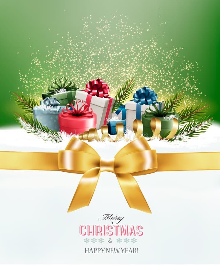 Υπόβαθρο Χριστουγέννων διακοπών με τα ζωηρόχρωμα κιβώτια δώρων ελεύθερη απεικόνιση δικαιώματος