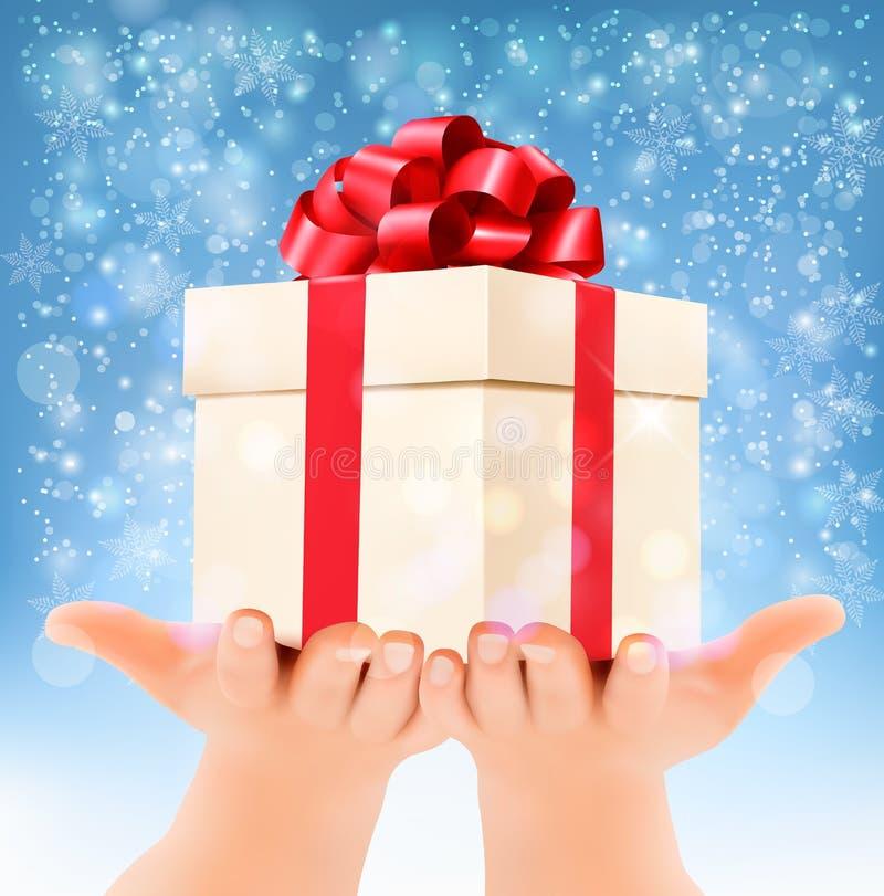 Υπόβαθρο Χριστουγέννων διακοπών με τα χέρια που κρατά το κιβώτιο δώρων διανυσματική απεικόνιση