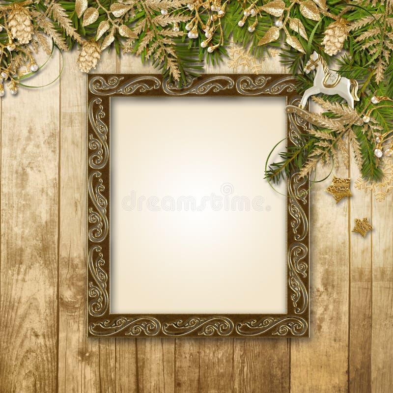 Υπόβαθρο Χριστουγέννων με μια πανέμορφη γιρλάντα και πλαίσιο για τη φωτογραφία ελεύθερη απεικόνιση δικαιώματος