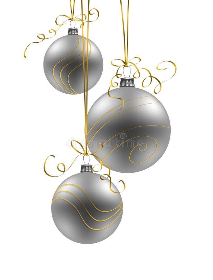 Υπόβαθρο Χριστουγέννων με τα ασημένια μπιχλιμπίδια στο άσπρο υπόβαθρο ελεύθερη απεικόνιση δικαιώματος