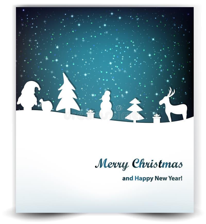 Υπόβαθρο Χριστουγέννων με τα αστέρια, το χιονάνθρωπο, Santa και τα ελάφια απεικόνιση αποθεμάτων