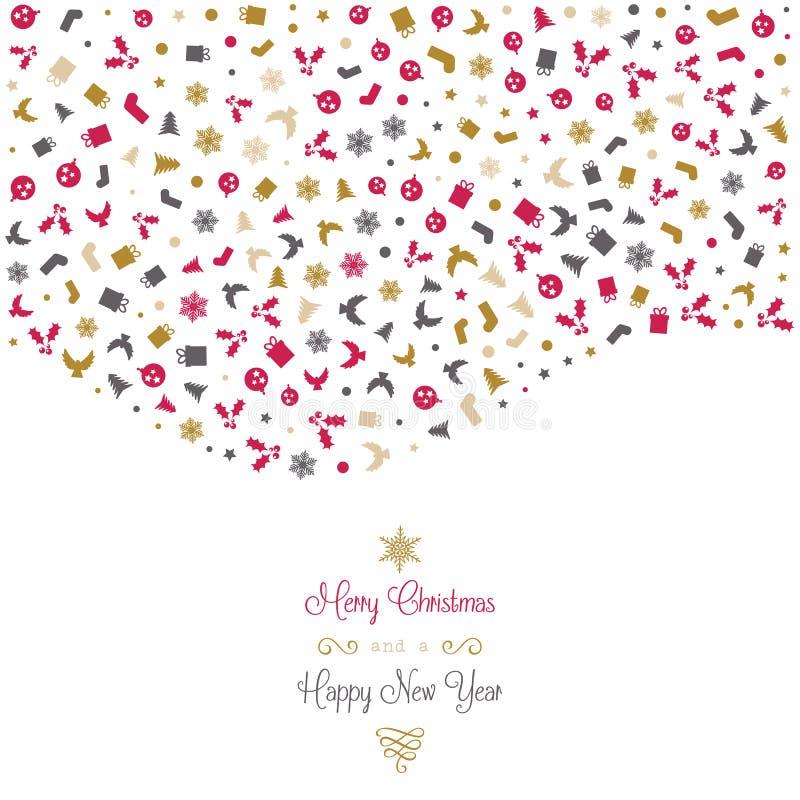 Υπόβαθρο Χριστουγέννων με τα εικονίδια διανυσματική απεικόνιση