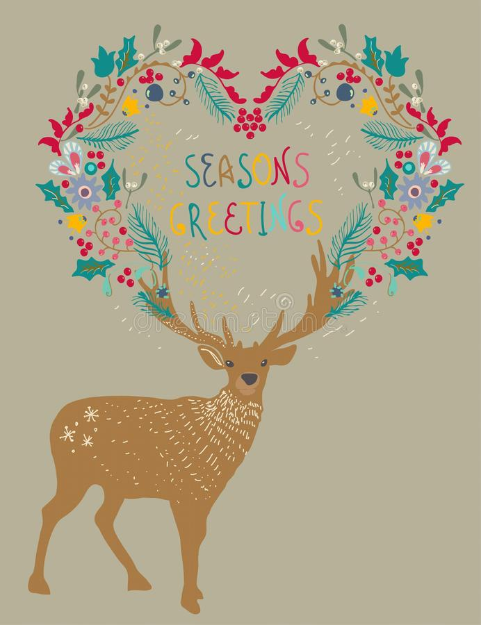 Υπόβαθρο Χριστουγέννων με τα ελάφια και το floral στεφάνι διακοπών απεικόνιση αποθεμάτων